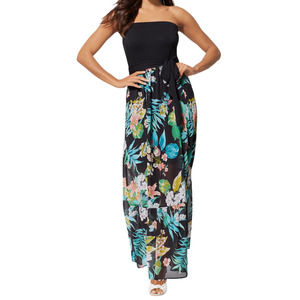 NY & Co Floral Strapless Maxi Dress Black XS